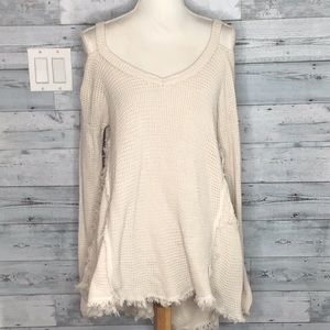 FREE PEOPLE CREAM COLD SHOULDER SWEATER